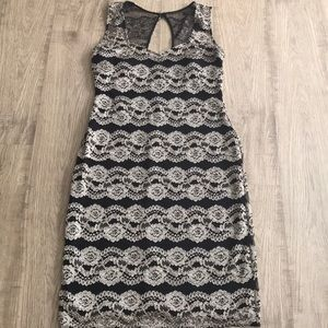 Plus Size Sheath Dress with Gold Lace